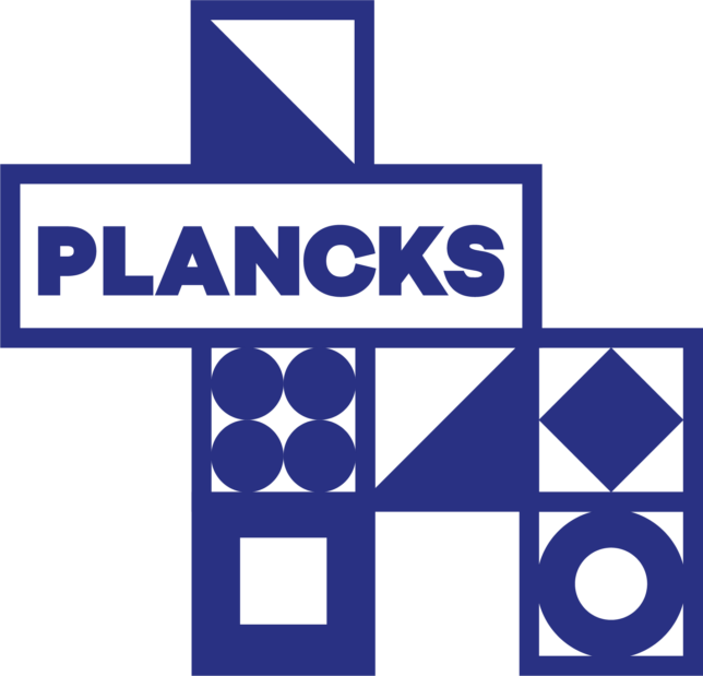 PLANCKS 2021 logo. Stack of squares outlined in blue with blue shapes inside them.