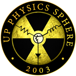 Black and white logo. Text reads as UP Physics Sphere 2003