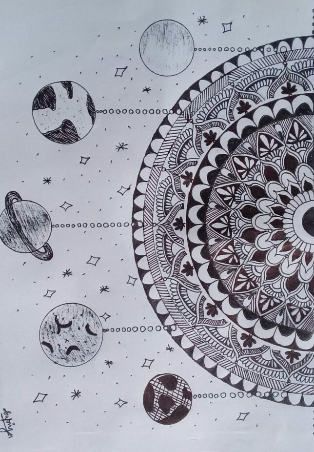 A black and white drawing depicting half of a mandala on the right half of the page and five straight, dotted lines coming out from the mandala with different planets at the end.